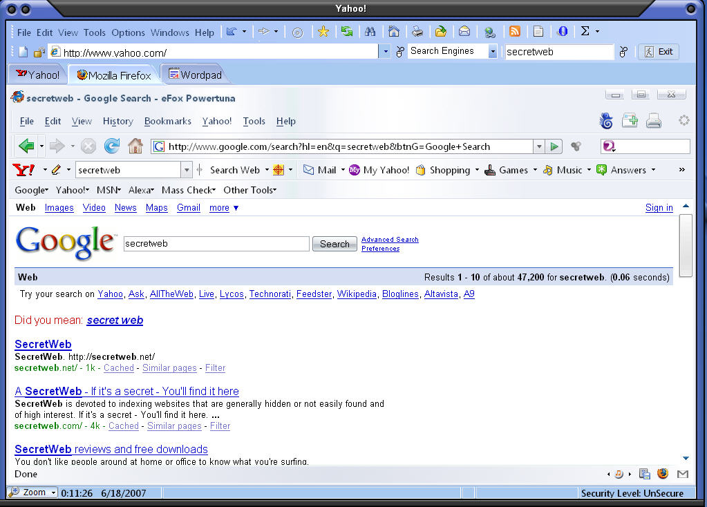 SecretWeb Screen shot